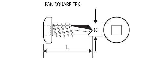 10G 16 PAN SQUARE TEK S/S