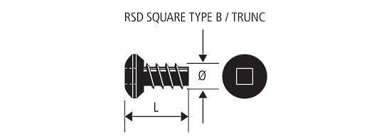 8G X 10 RSD CSK SQ S/S S/TAP TYPE B (TR)