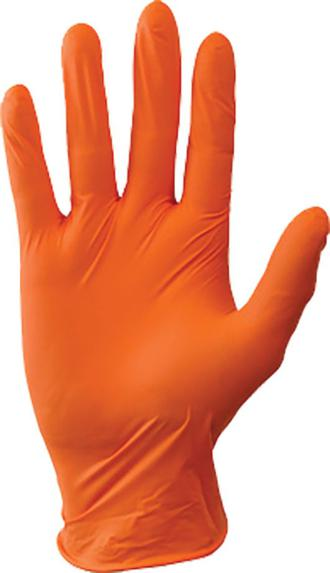 ORANGE NITRILE GLOVES - LARGE
