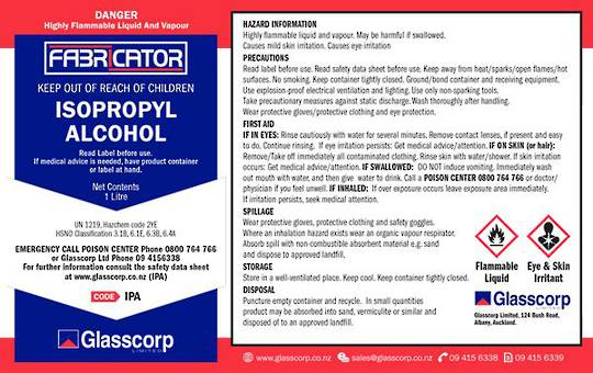 ISOPROPYL ALCOHOL LABEL- 1 LITRE