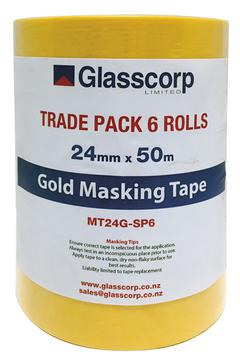GOLD MASKING TAPE - 24MM - PACK OF 6